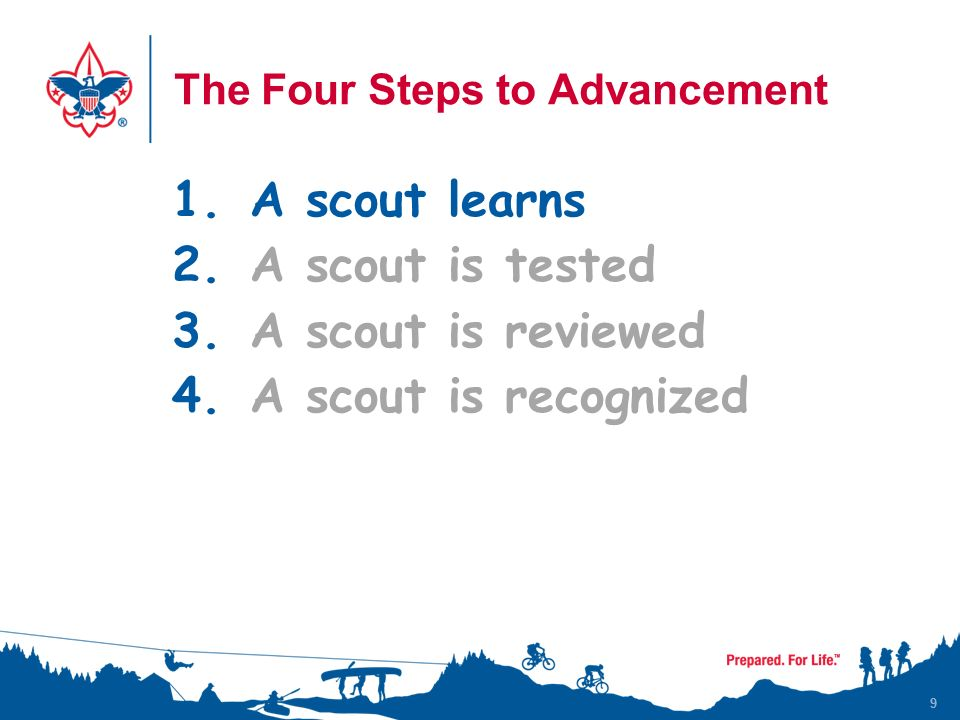 9 The Four Steps to Advancement 1.A scout learns 2.A scout is tested 3.A scout is reviewed 4.A scout is recognized 9