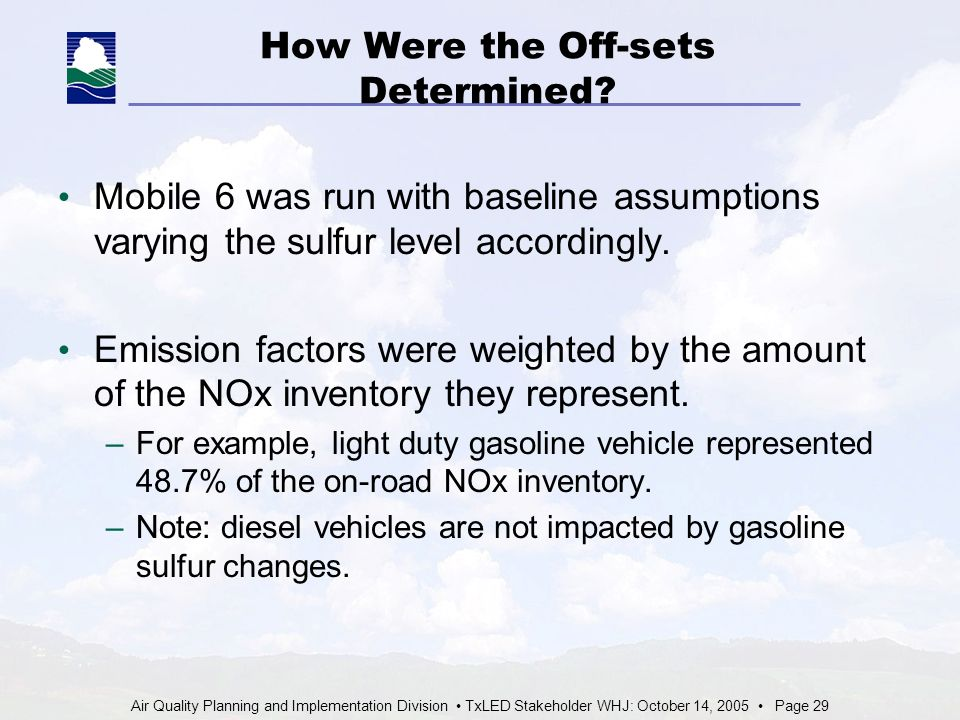 Air Quality Planning and Implementation Division TxLED Stakeholder WHJ: October 14, 2005 Page 29 How Were the Off-sets Determined.