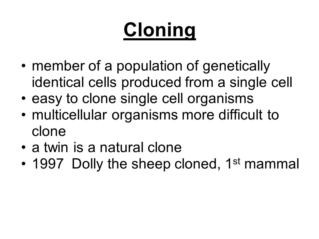Cloning member of a population of genetically identical cells produced from a single cell easy to clone single cell organisms multicellular organisms more difficult to clone a twin is a natural clone 1997 Dolly the sheep cloned, 1 st mammal