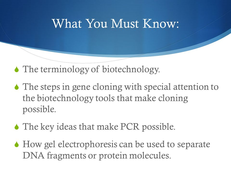 What You Must Know:  The terminology of biotechnology.