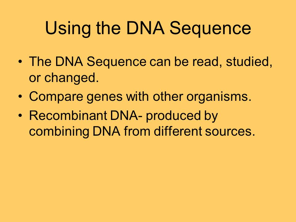 Using the DNA Sequence The DNA Sequence can be read, studied, or changed.