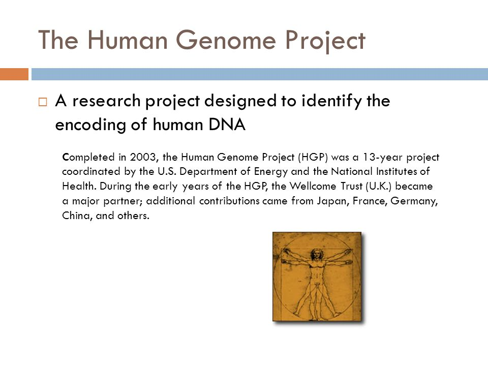 The Human Genome Project  A research project designed to identify the encoding of human DNA Completed in 2003, the Human Genome Project (HGP) was a 13-year project coordinated by the U.S.