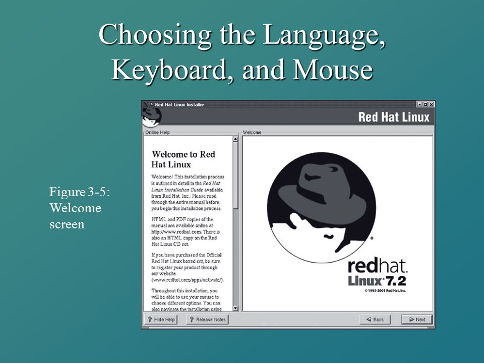 Choosing the Language, Keyboard, and Mouse Figure 3-5: Welcome screen