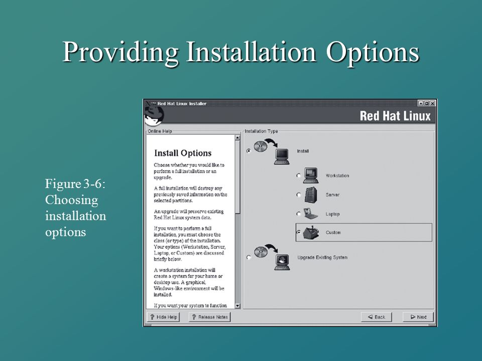 Providing Installation Options Figure 3-6: Choosing installation options