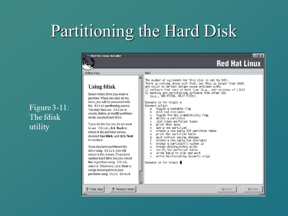 Partitioning the Hard Disk Figure 3-11: The fdisk utility