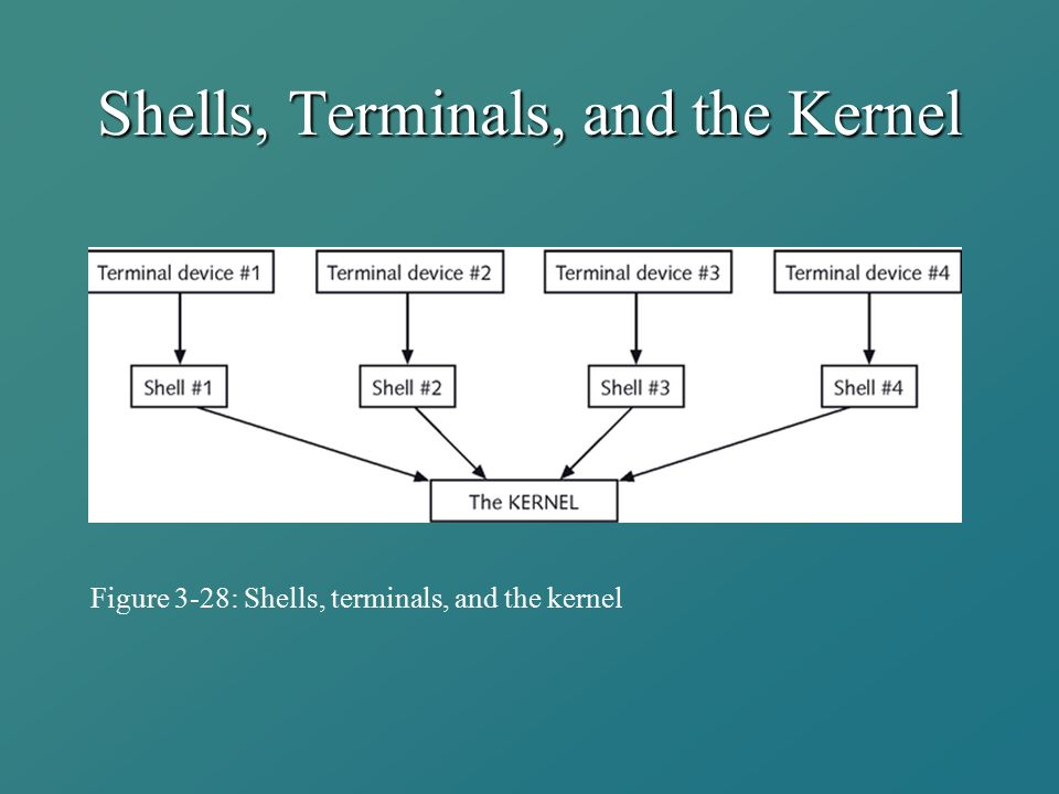 Shells, Terminals, and the Kernel Figure 3-28: Shells, terminals, and the kernel
