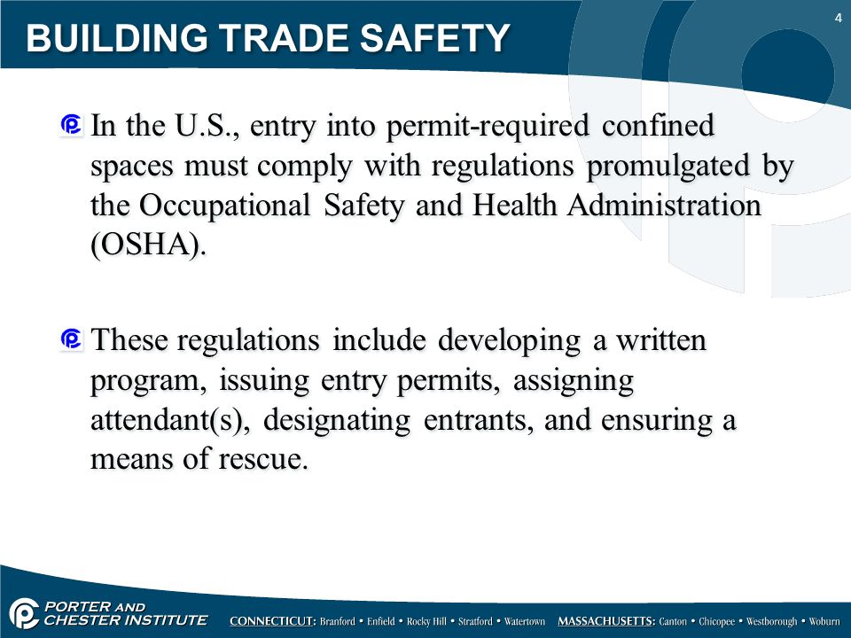 """the dangers of confined spaces and the regulation of permit required confined spaces Is the coordinator of the permit required confined spaces ( """"danger - permit-required confined space the osha regulations also allow permit spaces to be."""