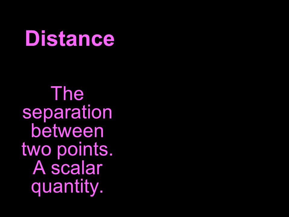 Distance The separation between two points. A scalar quantity.
