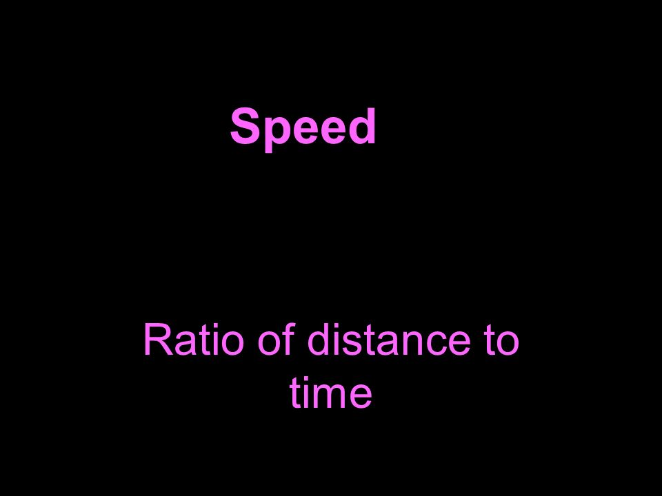 Speed Ratio of distance to time