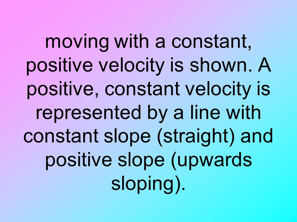 moving with a constant, positive velocity is shown.