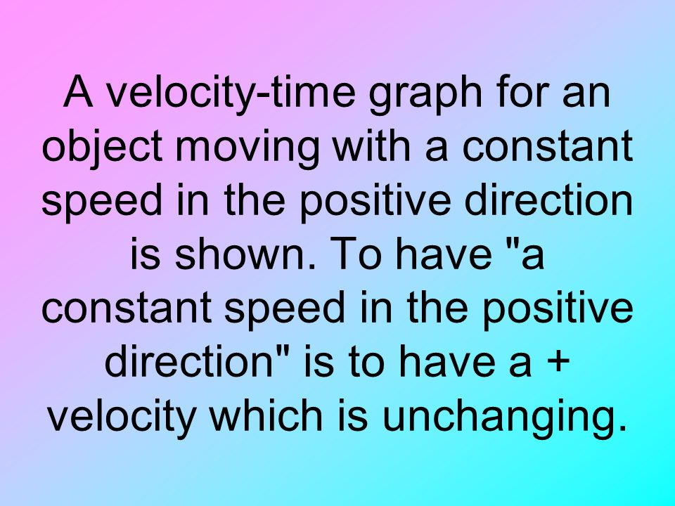 A velocity-time graph for an object moving with a constant speed in the positive direction is shown.