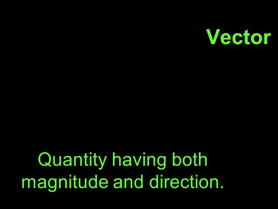 Vector Quantity having both magnitude and direction.