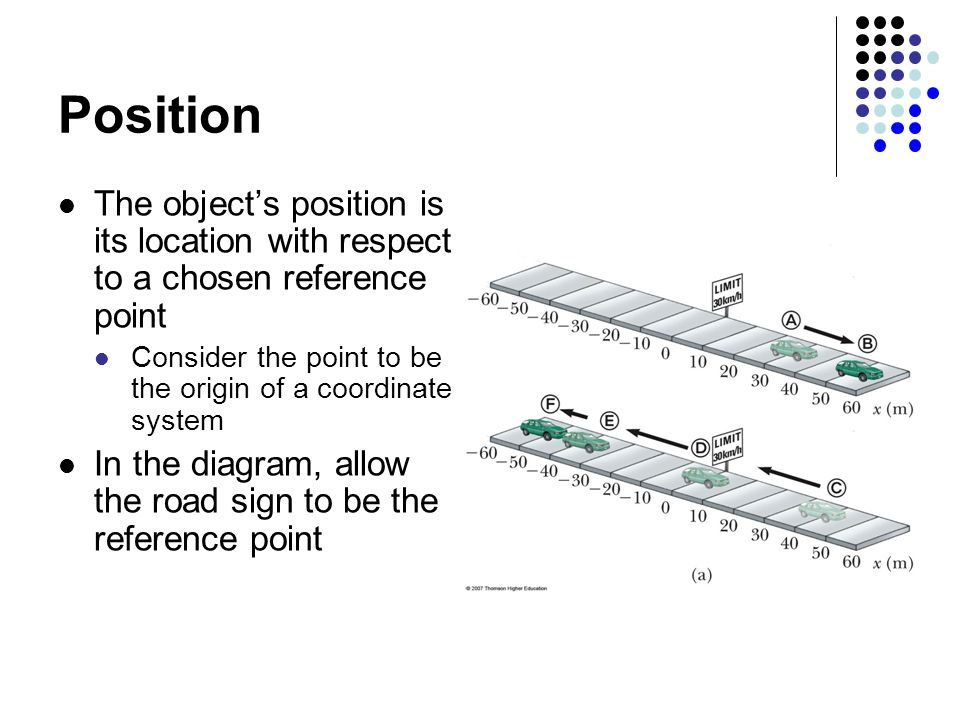 Position The object's position is its location with respect to a chosen reference point Consider the point to be the origin of a coordinate system In the diagram, allow the road sign to be the reference point