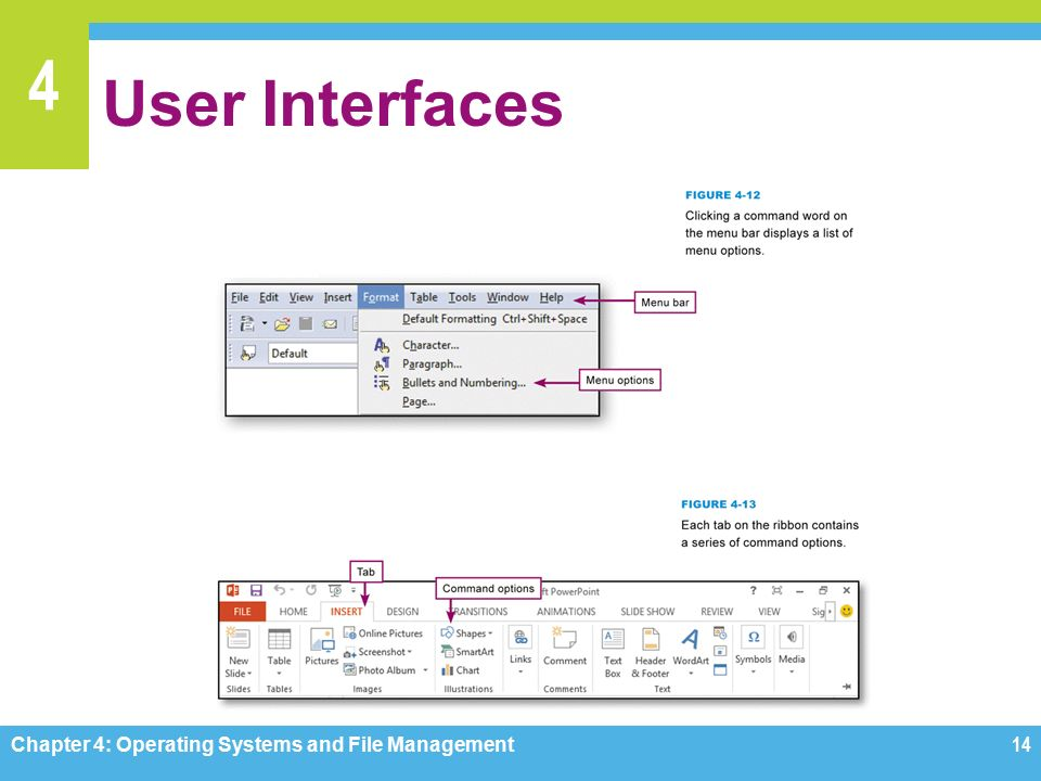 4 User Interfaces Chapter 4: Operating Systems and File Management14