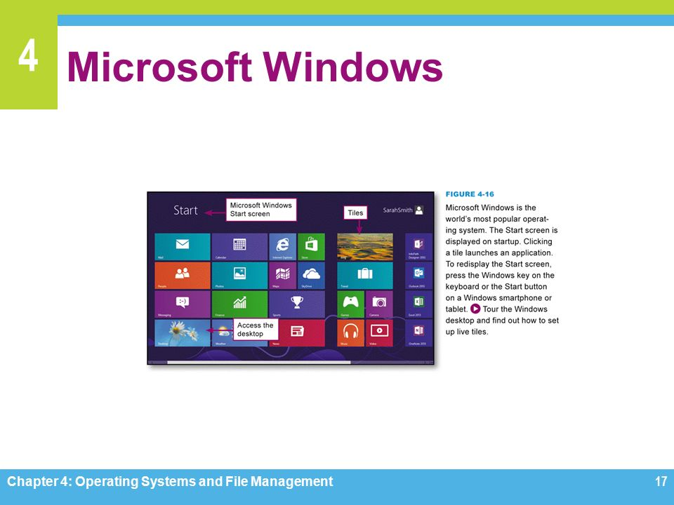 4 Microsoft Windows Chapter 4: Operating Systems and File Management17