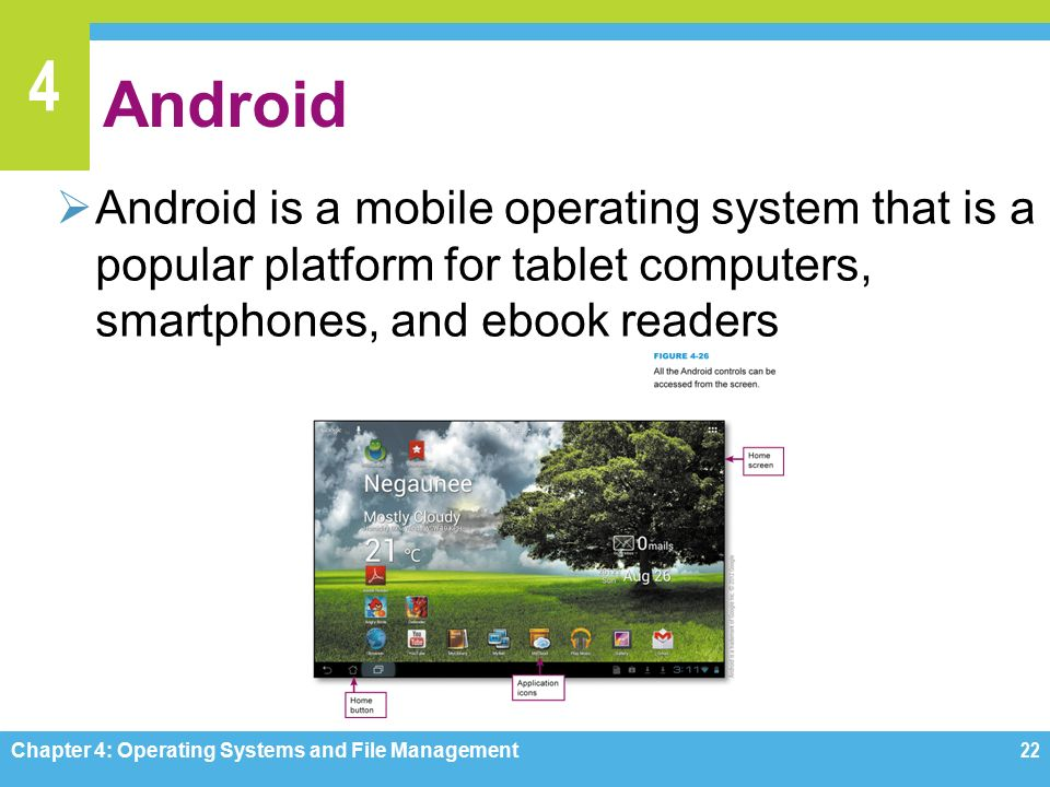 4 Android  Android is a mobile operating system that is a popular platform for tablet computers, smartphones, and ebook readers Chapter 4: Operating Systems and File Management22