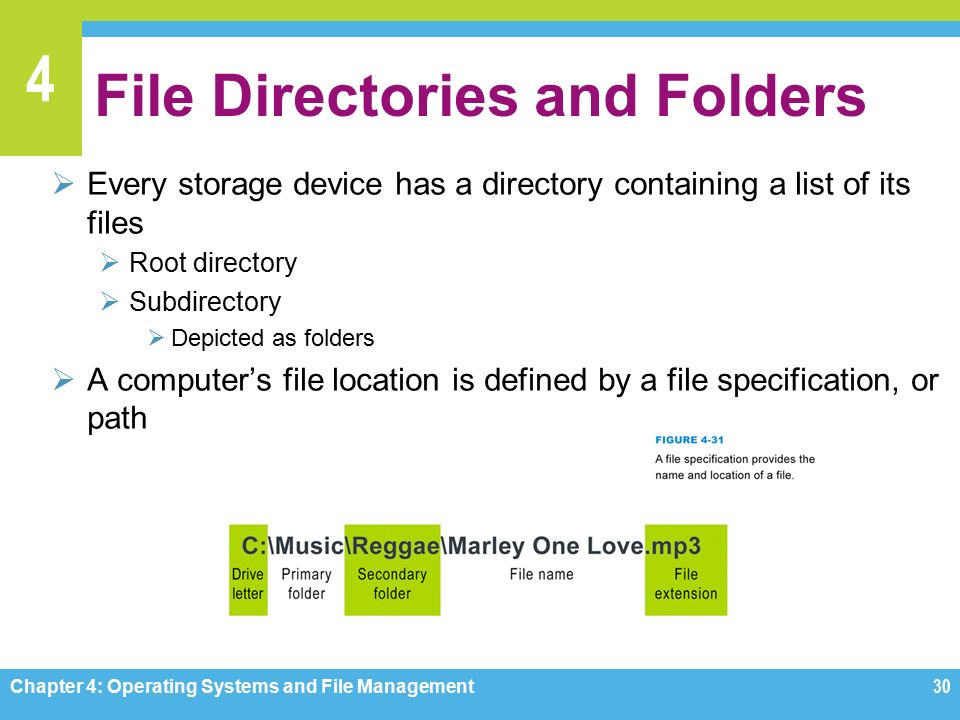 4 File Directories and Folders  Every storage device has a directory containing a list of its files  Root directory  Subdirectory  Depicted as folders  A computer's file location is defined by a file specification, or path Chapter 4: Operating Systems and File Management30