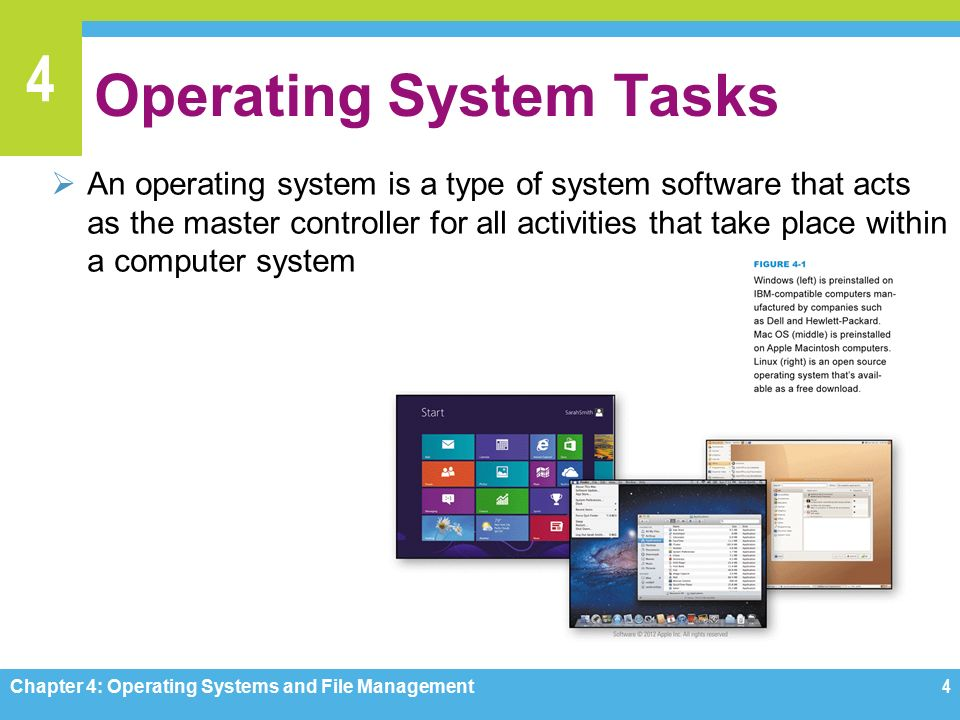 4 Operating System Tasks  An operating system is a type of system software that acts as the master controller for all activities that take place within a computer system Chapter 4: Operating Systems and File Management4