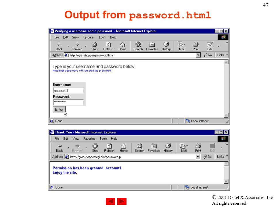  2001 Deitel & Associates, Inc. All rights reserved. 47 Output from password.html