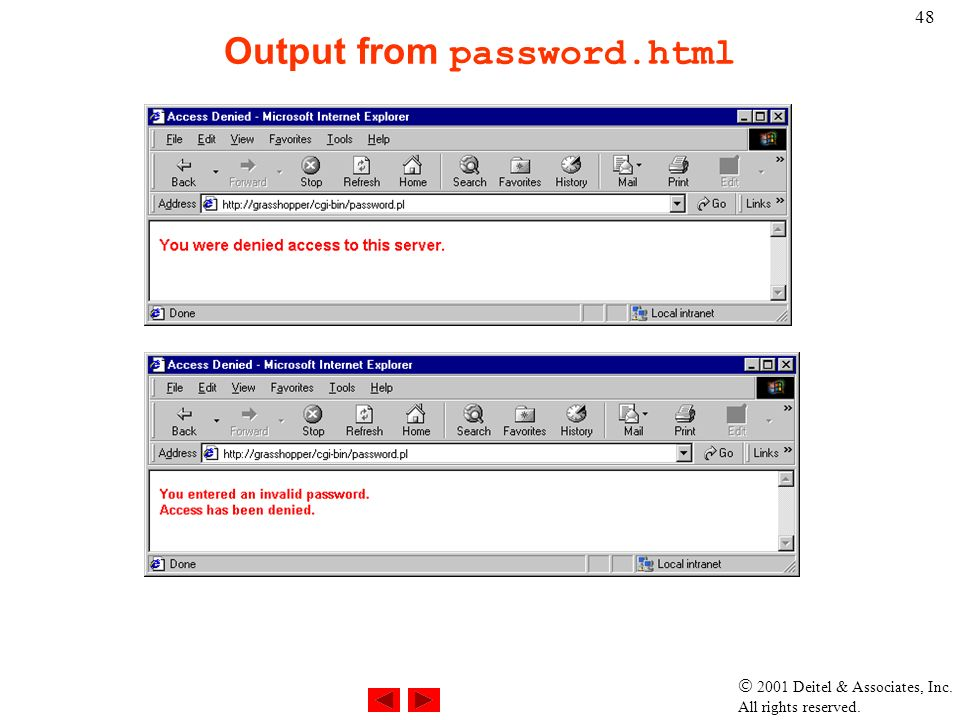  2001 Deitel & Associates, Inc. All rights reserved. 48 Output from password.html