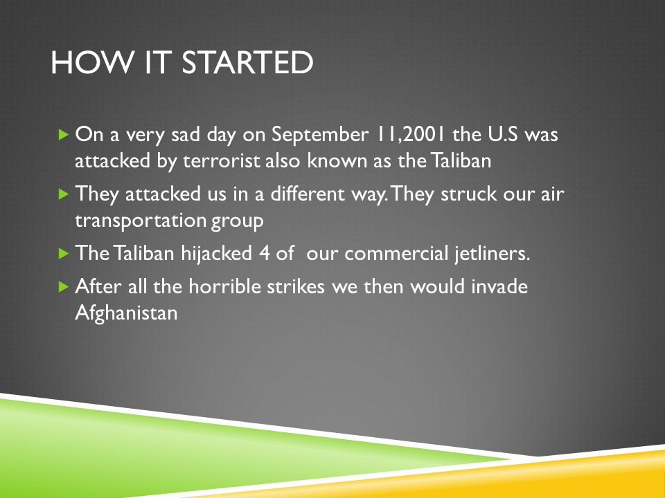HOW IT STARTED  On a very sad day on September 11,2001 the U.S was attacked by terrorist also known as the Taliban  They attacked us in a different way.