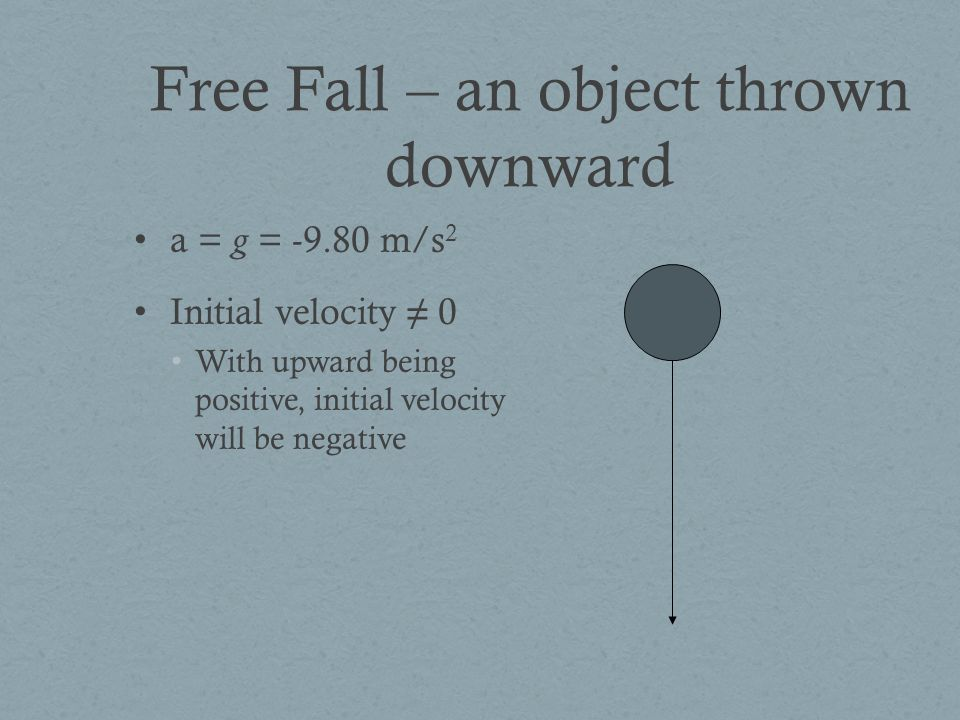 Free Fall – an object thrown downward a = g = m/s 2 Initial velocity ≠ 0 With upward being positive, initial velocity will be negative