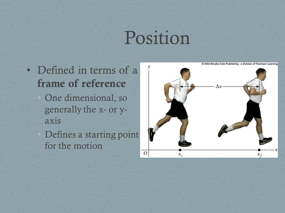 Position Defined in terms of a frame of reference One dimensional, so generally the x- or y- axis Defines a starting point for the motion
