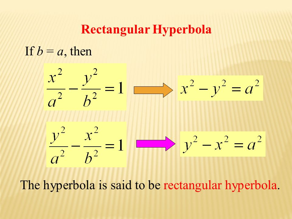 Rectangular Hyperbola If b = a, then The hyperbola is said to be rectangular hyperbola.