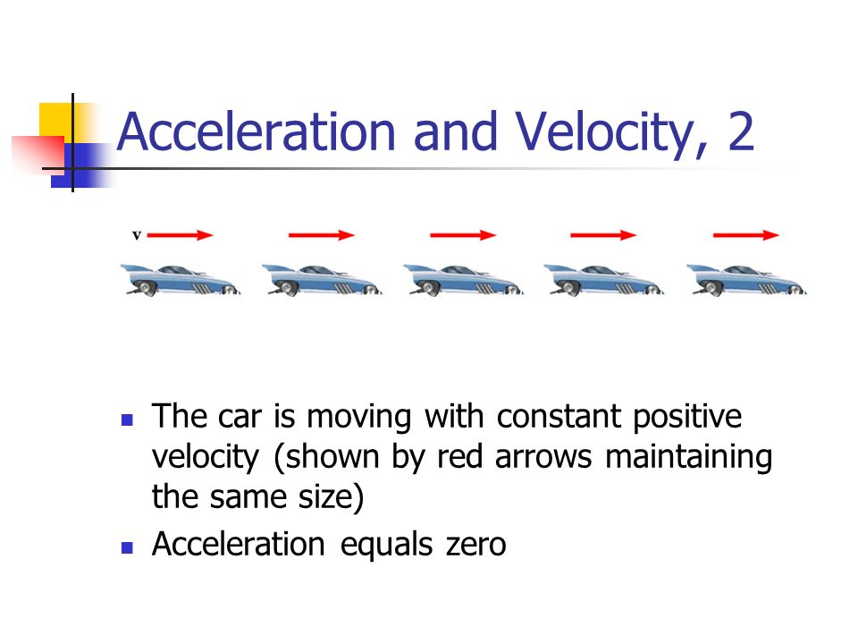 Acceleration and Velocity, 2 The car is moving with constant positive velocity (shown by red arrows maintaining the same size) Acceleration equals zero