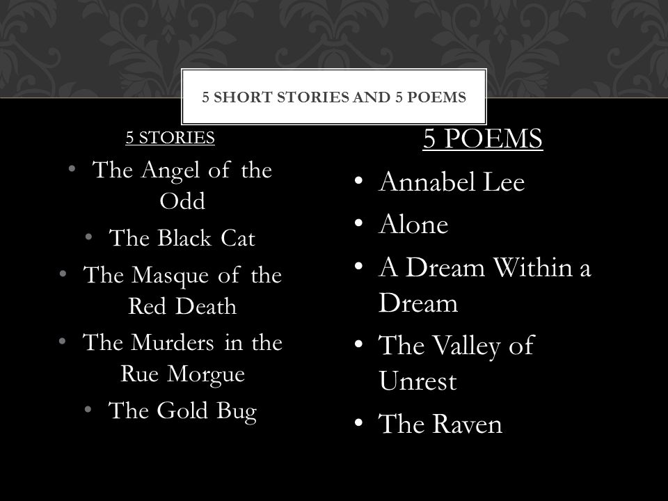 5 STORIES The Angel of the Odd The Black Cat The Masque of the Red Death The Murders in the Rue Morgue The Gold Bug 5 SHORT STORIES AND 5 POEMS 5 POEMS Annabel Lee Alone A Dream Within a Dream The Valley of Unrest The Raven