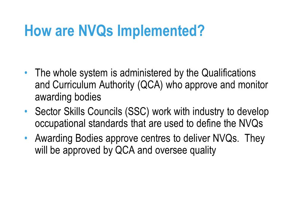 How are NVQs Implemented.