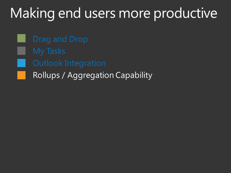 Drag and Drop My Tasks Outlook Integration Rollups / Aggregation Capability