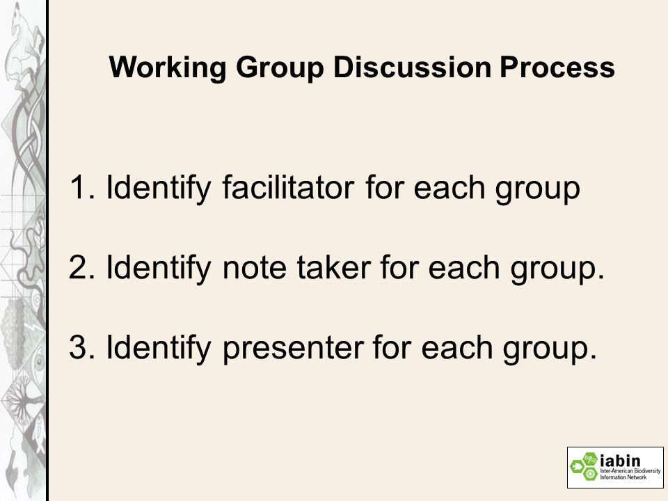 Working Group Discussion Process 1. Identify facilitator for each group 2.