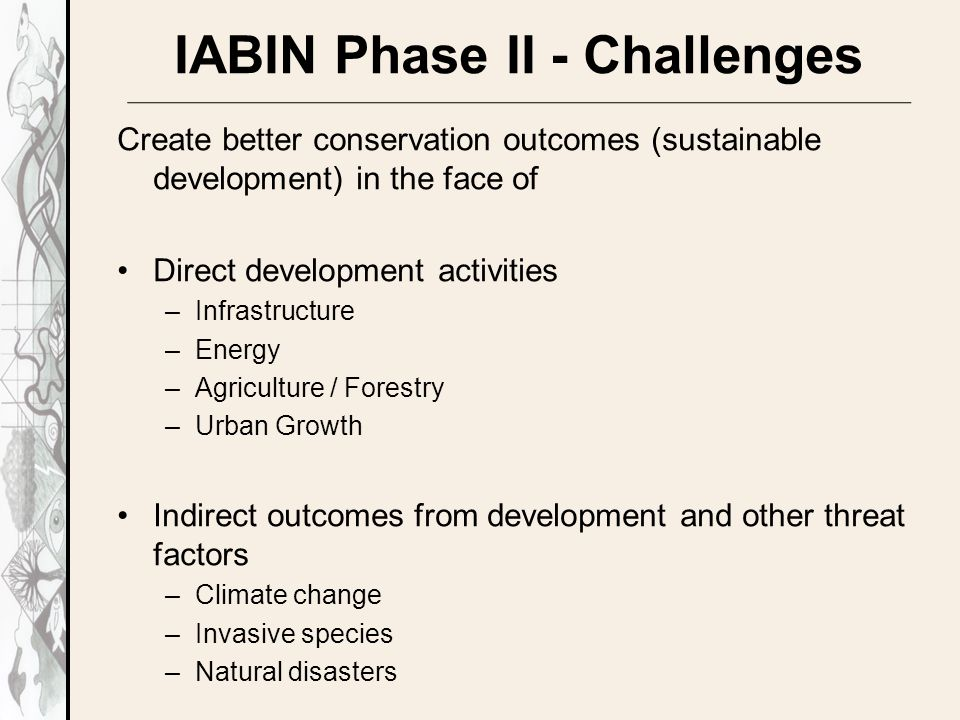 IABIN Phase II - Challenges Create better conservation outcomes (sustainable development) in the face of Direct development activities –Infrastructure –Energy –Agriculture / Forestry –Urban Growth Indirect outcomes from development and other threat factors –Climate change –Invasive species –Natural disasters
