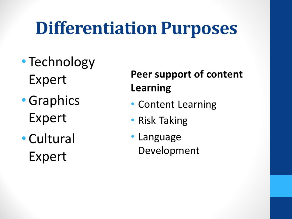 Differentiation Purposes Technology Expert Graphics Expert Cultural Expert Peer support of content Learning Content Learning Risk Taking Language Development