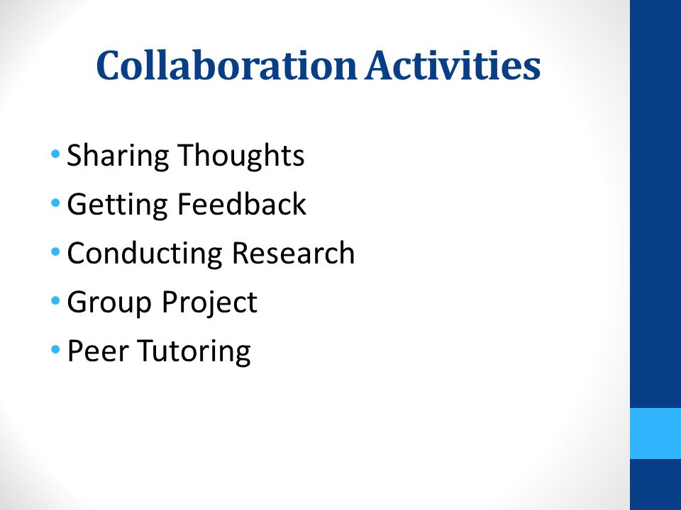 Collaboration Activities Sharing Thoughts Getting Feedback Conducting Research Group Project Peer Tutoring