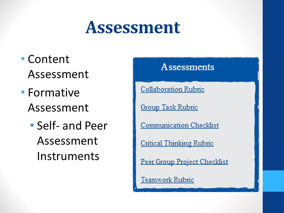 Assessment Content Assessment Formative Assessment Self- and Peer Assessment Instruments