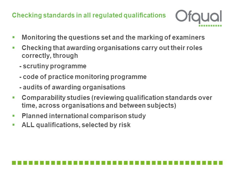 Checking standards in all regulated qualifications  Monitoring the questions set and the marking of examiners  Checking that awarding organisations carry out their roles correctly, through - scrutiny programme - code of practice monitoring programme - audits of awarding organisations  Comparability studies (reviewing qualification standards over time, across organisations and between subjects)  Planned international comparison study  ALL qualifications, selected by risk