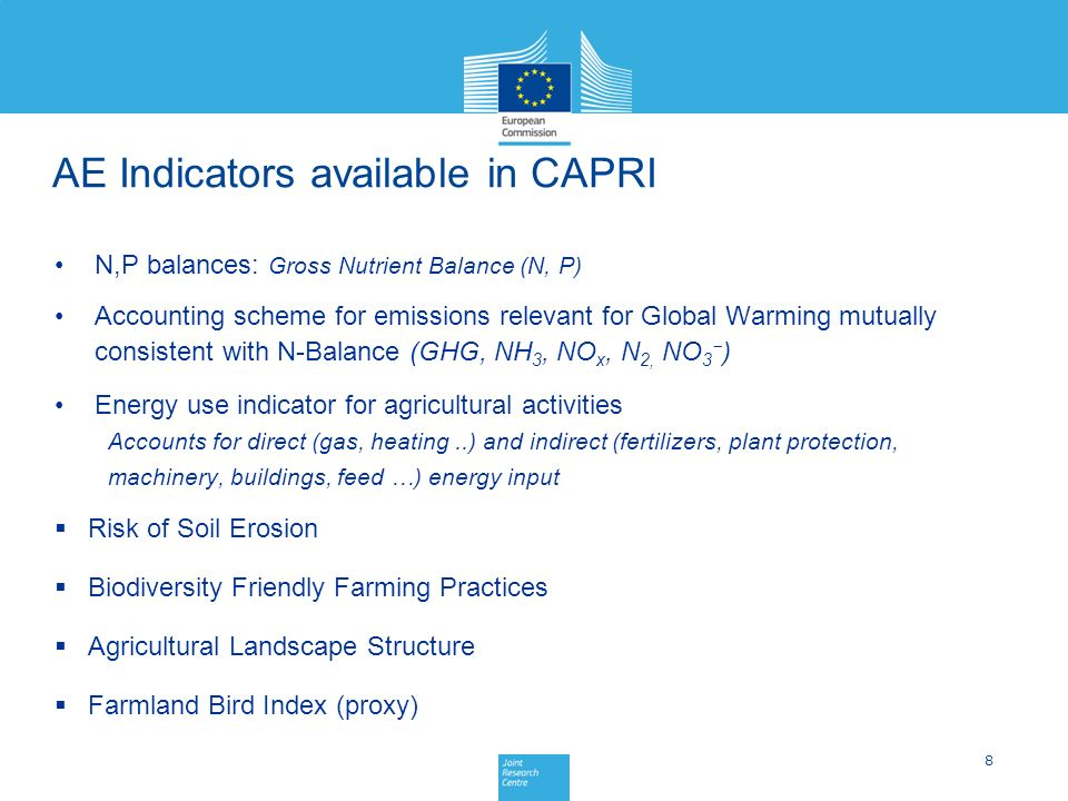 AE Indicators available in CAPRI 8 N,P balances: Gross Nutrient Balance (N, P) Accounting scheme for emissions relevant for Global Warming mutually consistent with N-Balance (GHG, NH 3, NO x, N 2, NO 3 − ) Energy use indicator for agricultural activities Accounts for direct (gas, heating..) and indirect (fertilizers, plant protection, machinery, buildings, feed …) energy input  Risk of Soil Erosion  Biodiversity Friendly Farming Practices  Agricultural Landscape Structure  Farmland Bird Index (proxy)