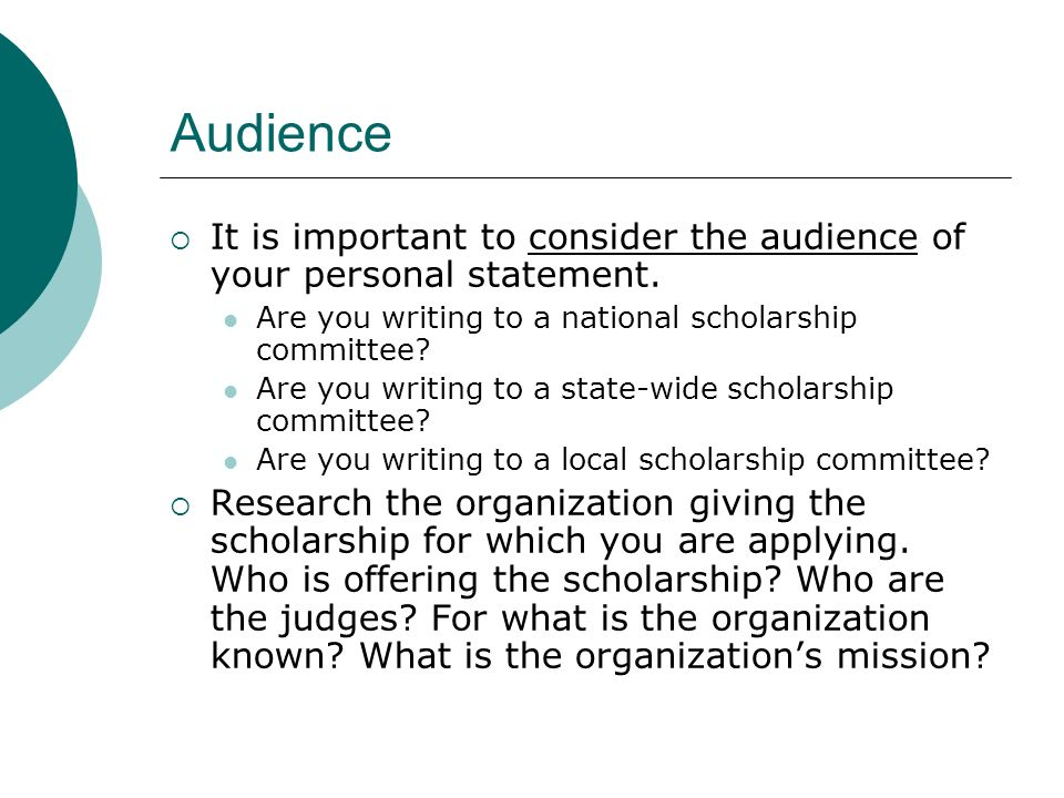 Personal statement for a scholarship,help!?