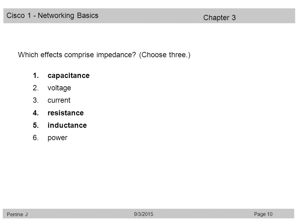 Cisco 1 - Networking Basics Perrine. J Page 109/3/2015 Chapter 3 Which effects comprise impedance.