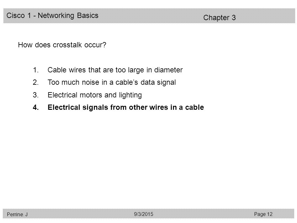 Cisco 1 - Networking Basics Perrine. J Page 129/3/2015 Chapter 3 How does crosstalk occur.