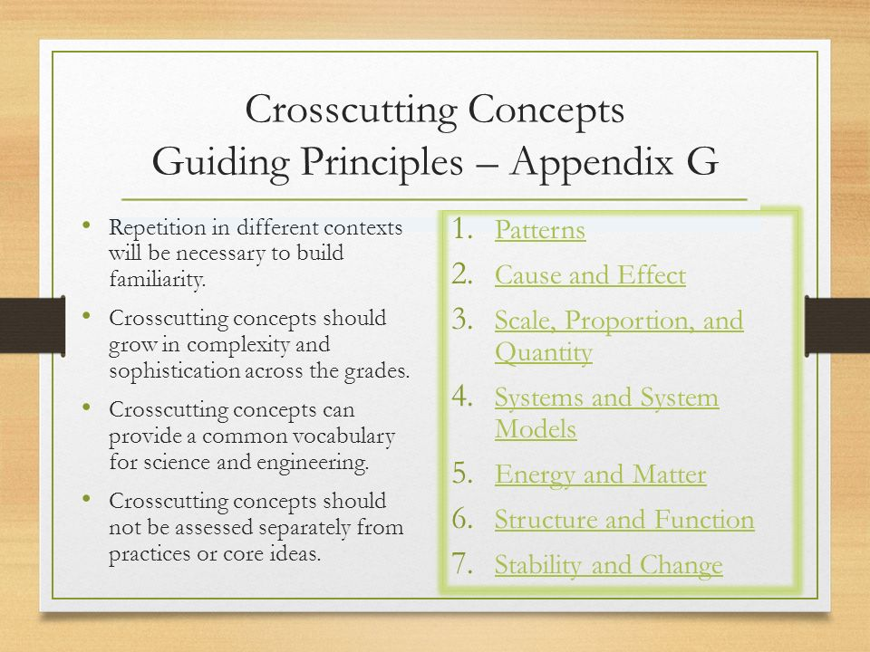 Crosscutting Concepts Guiding Principles – Appendix G Repetition in different contexts will be necessary to build familiarity.