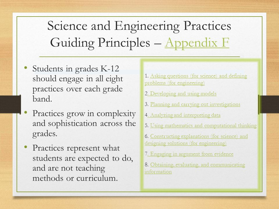 Science and Engineering Practices Guiding Principles – Appendix FAppendix F Students in grades K-12 should engage in all eight practices over each grade band.