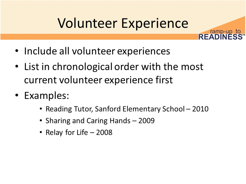 Resume volunteer experience example