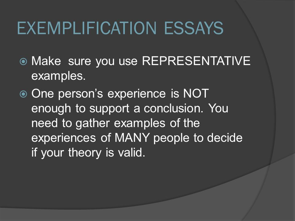 exemplification essay in third person
