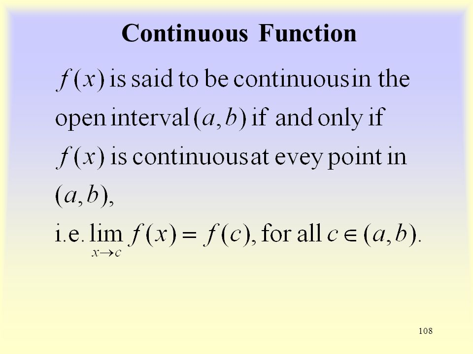 Continuous Function 108