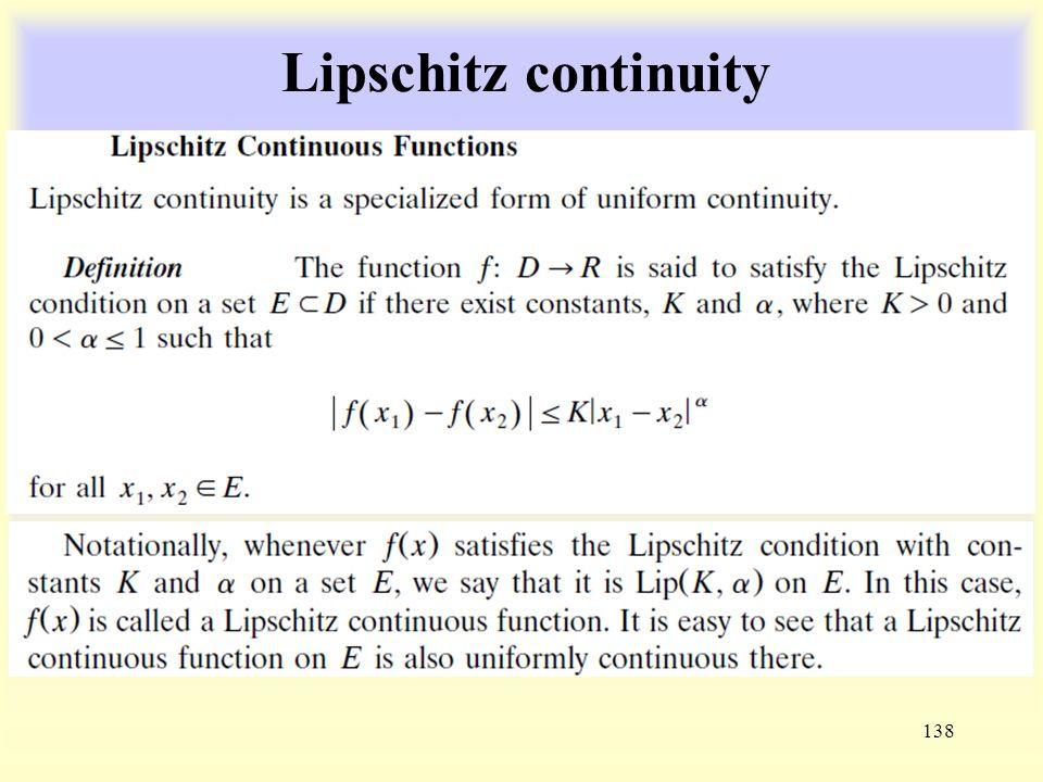 Lipschitz continuity 138