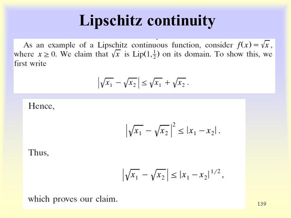 Lipschitz continuity 139