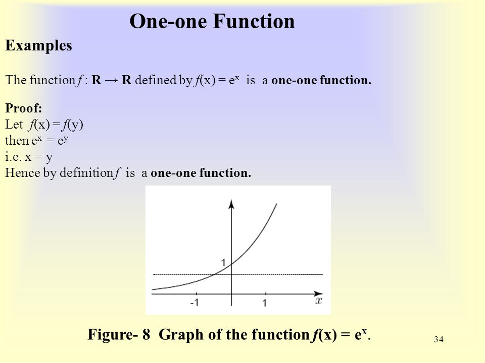 One-one Function 34 Examples The function f : R → R defined by f(x) = e x is a one-one function.